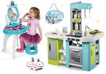 Szett elektronikus játékkonyha Tefal Studio XL Bubble Smoby bugyogással és pipere asztal Jégvarázs 2in1 táskával SM311035-10