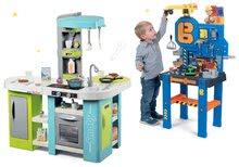 Szett elektronikus játékkonyha Tefal Studio XL Bubble Smoby bugyogással és szerelőműhely Bricolo Center Bob mester SM311035-13