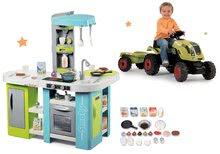 Set bucătărie de jucărie Tefal Studio XL Bubble Smoby electronică cu barbotare şi tractor cu pedale Claas Farmer XL cu remorcă