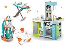 Set bucătărie Tefal Studio XL Bubble Smoby electronică cu barbotare şi cărucior de curăţenie cu aspirator şi masă de călcat