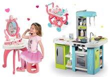 Set bucătărie Tefal Studio XL Bubble Smoby electronică cu barbotare şi masă de machiaj Prinţese 2in1 cu cărucior de servit