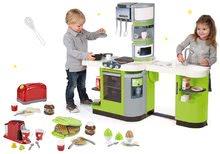 Szett zöld játékkonyha CookMaster Verte Smoby jéggel hanggal és kenyérpirító kávéfőzővel és gofrisütővel
