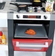 Elektronické kuchynky - Kuchynka Tefal French Touch Bublinky&Voda Smoby elektronická s magickým bublaním, tečúcou vodou a 45 doplnkami červeno-šedá_1