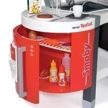 Elektronické kuchynky - Kuchynka Tefal French Touch Bublinky&Voda Smoby elektronická s magickým bublaním, tečúcou vodou a 45 doplnkami červeno-šedá_2