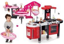 Szett játékkonyha gyerekeknek Tefal French Touch Smoby elektronikus hanggal és babacenter játékbabának Baby Nurse