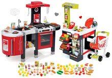 Szett játékkonyha gyerekeknek Tefal French Touch Smoby elektronikus hanggal és szupermarket pénztárgéppel és 100 drb élelmiszerrel