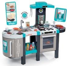 Dětská kuchyňka Tefal French Touch Bubble Smoby elektronická s magickým bubláním, grilem, ledem a 46 doplňky tyrkysovo-šedá