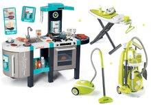 Set bucătărie Tefal French Touch Bubble Smoby turcoaz cu barbotare magică și cărucior de curăţenie cu aspirator şi masă de călcat