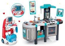 Set kuchynka elektronická Tefal French Touch Bubble Smoby s magickým bublaním+lekársky vozík s modrým kufríkom 311206-4