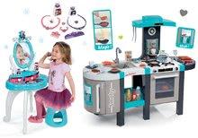 Set kuchynka elektronická Tefal French Touch Bubble Smoby s magickým bublaním+kozmetický stolík 2v1 Frozen 311206-7