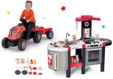 Szett elektronikus játékkonyha Tefal French Touch Bubble Smoby bugyogással és pedálos traktor Farmer XL piros SM311207-14
