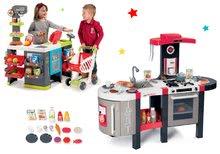 Set bucătărie Tefal French Touch Bubble Smoby electronică cu barbotare şi magazin mixt Maxi Market electronic