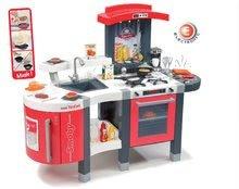 Játékkonyha Tefal SuperChef Smoby elektronikus hanggal, jéggel, kávéfőzővel, grillezővel és 47 kiegészítővel piros-szürke