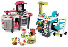 Szett játékkonyha Tefal SuperChef Smoby grillezővel és kávéfőzővel és közért Szupermarket érintőképernyős pénztárgéppel