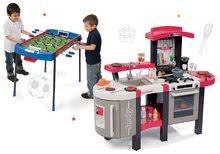 Szett játékkonyha Tefal SuperChef Smoby grillezővel és kávéfőzővel és csocsó asztal Challenger