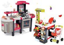 Szett játékkonyha Tefal SuperChef Smoby grillel és kávéfőzővel és üzlet eknek Szupermarket