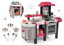 Set červená kuchyňka Tefal Superchef se zvuky, ledem grilem a nádobí pochromované 7 dílů