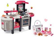 Szett játékkonyha Tefal SuperChef Smoby hangokkal, jéggel és grillsütővel és reggeliző szett Hello Kitty táskában