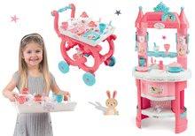 Szett játékkonyha Hercegnők Smoby kétoldalas, tornyokkal és 19 kiegészítővel és zsúrkocsi teáskészlettel