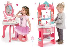 Set bucătărie de jucărie Prinţese Smoby cu turnuri şi 19 accesorii se poate înconjura şi măsuţă cosmetică cu scăunel