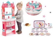 Szett játékkonyha Hercegnők Smoby kétoldalas, tornyokkal és 19 kiegészítővel és teáskészlet Hercegnők Tin Tea