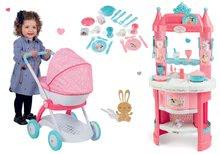 Szett játékkonyha Hercegnők Smoby kétoldalas, tornyokkal és 19 kiegészítővel és mély babakocsi 42 cm játékbabának