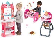 Set kuchynka Princezné Smoby s vežičkami a 19 doplnkami obojstranná, jedálenská stolička a kolíska pre bábiku