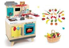 Set dřevěná kuchyňka Wood Cook Smoby s kávovarem a dřevěná zelenina a ovoce v proutěném košíku 24 ks