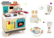 Szett fa játékkonyha Wood Cook Smoby kávéfőzővel és 4 konyhagép Tefal