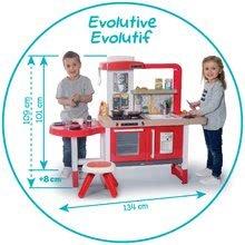 Elektronické kuchynky - Kuchynka rastúca s tečúcou vodou Tefal Evolutive Gourment Smoby s červenou mikrovlnkou so zvukom a svetlom_11