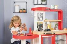 Elektronické kuchynky - Kuchynka rastúca s tečúcou vodou Tefal Evolutive Gourment Smoby s červenou mikrovlnkou so zvukom a svetlom_35