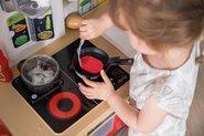 Kuchynky pre deti sety - Set kuchynka rastúca s tečúcou vodou a mikrovlnkou Tefal Evolutive Smoby a zeleninový Bio stánok s vozíkom Organic 100% Chef ako darček_24