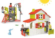 Set dětský domeček Maison Duplex Smoby patrový a prolézačka Multi-Activity Tower se skluzavkou