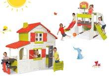 Set detský domček Maison Duplex Smoby poschodový a hracie centrum Fun Center so šmykľavkou