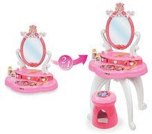 Kozmetický stolík pre deti - Kozmetický stolík Disney Princezné Smoby 2v1 so stoličkou a 10 doplnkami ružový_5