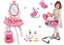 Set măsuţă de cosmetică 2-in1 Prinţese Smoby și scaun de masă, scaun de maşină şi leagăn Maxi Cosi