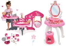 Set măsuţă de cosmetică 2-in1 Prinţese Smoby și centru bebe pentru păpuşă