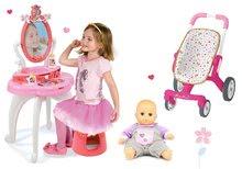 Set măsuţă de cosmetică 2-in1 Prinţese Smoby și cărucior cu roţi pivotante şi păpuşă