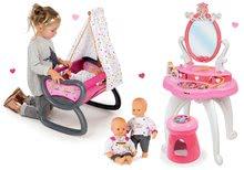 Set dětský kosmetický stolek 2v1 Princezny Smoby a kolébka s baldachýnem a panenka