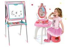 Set dětský kosmetický stolek 2v1 Princezny Smoby a magnetická tabule polohovatelná