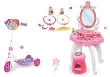 Set măsuţă de cosmetică 2-in1 Prinţesele Smoby și trotinetă cu trei roţi