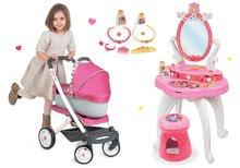 Set dětský kosmetický stolek 2v1 Princezny Smoby a kočárek 3v1 Maxi Cosi&Quinny s nosítkem