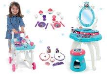 Set masă cosmetică cu scaune 2 în 1 Frozen Smoby cu set de ceai pe cărucior Frozen