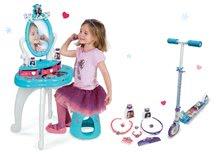Komplet kozmetična miza Frozen Smoby s stolom in dvokolesen skiro Frozen