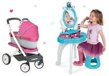 Kozmetické stolíky sety - Set kozmetický stolík Frozen Smoby so stoličkou a kočík pre bábiku retro Maxi Cosi & Quinny 3v1 (65,5 cm rúčka)_17