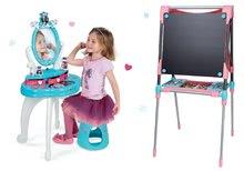 Szett pipere asztal gyerekeknek Frozen Smoby székkel és mágneses kétoldalas rajztábla állítható