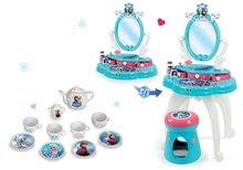 Set masă cosmetică cu scaun 2 în 1 Smoby Frozen cu set de ceai din porțelan Frozen
