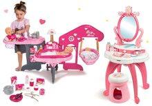 Szett pipere asztal 2in1 Hercegnők Smoby és babacenter játékbabának háromrészes