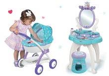 Set kozmetický stolík Frozen Smoby so stoličkou a hlboký kočík pre bábiku Frozen (58 cm rúčka)