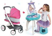 Set kozmetický stolík Frozen Smoby so stoličkou a kočík pre bábiku retro Maxi Cosi & Quinny 3v1 (65,5 cm rúčka)